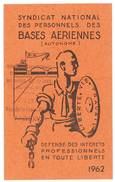 Carte Syndicat National Des Personnels Des Bases Aériennes, 1962 - Cartes