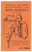 Carte Syndicat National Des Personnels Des Bases Aériennes, 1963 - Cartes