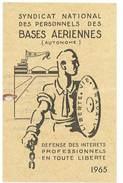 Carte Syndicat National Des Personnels Des Bases Aériennes, 1965 - Cartes
