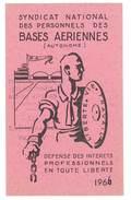 Carte Syndicat National Des Personnels Des Bases Aériennes, 1966 - Cartes