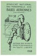 Carte Syndicat National Des Personnels Des Bases Aériennes, 1968 - Cartes