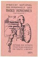 Carte Syndicat National Des Personnels Des Bases Aériennes, 1971 - Cartes