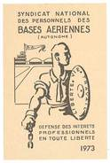 Carte Syndicat National Des Personnels Des Bases Aériennes, 1973 - Cartes