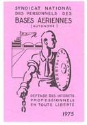 Carte Syndicat National Des Personnels Des Bases Aériennes, 1975 - Cartes