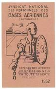Carte Syndicat National Des Personnels Des Bases Aériennes, 1952 - Cartes