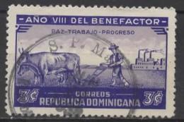 DOMINICAN REPUBLIC 1937 8th Year Of Trujillo Presidency - 3c Peace, Labour And Progress  FU - Dominican Republic
