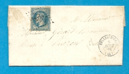 Loir Et Cher - Selles Sur Cher Pour Vierzon (Cher). LAC Ecrite à Billy. Au Verso, Bureau De Passe 4201 - Marcophilie (Lettres)