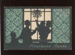 Silhouettes D'une Famille En Ombres Chinoises Heureuse Année édit. Em. Bx & Cie Série 39 - Nouvel An