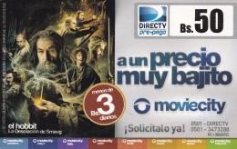 TARJETA DE VENEZUELA DE DIRECTV DE BS.50 DE EL HOBBIT (CINE-CINEMA) SEÑOR DE LOS ANILLOS - Venezuela