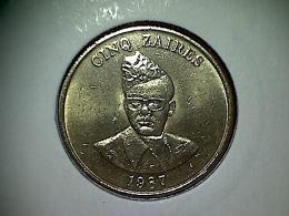 Zaire 5 Zaires 1987 - Zaire (1971 -97)