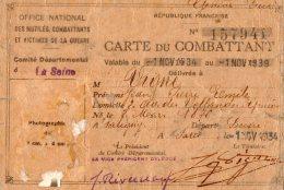 65Cu  Carte De Combattant Guerre 14/18 Pour La France Militaire De Nationalité Suisse - Maps