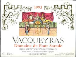 087 - Vacqueyras - 1993 - Domaine De Font Sarade - André Devine Viticulteur à 84190 Vacqueyras - Labels