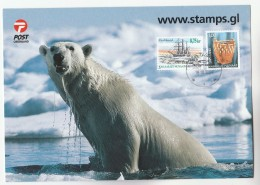 2004 GREENLAND SPECIAL COVER POLAR BEAR Ship Craft Stamps FISH Pmk Card - Covers & Documents