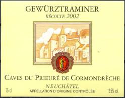 090 - Gewürtztraminer - 2002 - Caves Du Prieuré De Cormondrèche Neuchâtel A.O.C. - Gewurztraminer