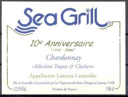 """095 - Limoux - Chardonnay """"Sélection Toques & Clochers"""" 10e Anniversaire SEA GRILL """"1990/2000"""" - Limoux - Etiquettes"""