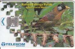 MALAYSIA(chip) - Bird, Silver-Eared Mesia, Telecom Malaysia Telecard RM20, Chip SC7, Used - Malaysia