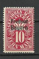 Deutschland Freistaat Bayern Gebührenmark 10 Mark Überdruck MNH - Bavière