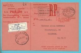 """Ontvangkaart Met Roodfrankeering """" B992 / PHILIPS EXPO'58 PAVILLON """" Met Stempel  BRUSSEL Naar MALDEGEM - Non Classés"""