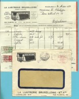 "Brief Met Roodfrankeering "" E230 "" Met Stempel  BRUSSEL 1936, Geillustreerd + Inhoud LA LUSTRERIE BRUXELLOISE - Franking Machines"