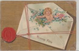 """""""  Bonne  Fète  """"   Petit   Ange   Sort D;une  Enveloppe  Des  Fleurs  Derrière  Ficelle  Et  Cachet - Autres"""