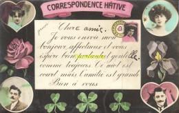 CPA COUPLE HOMME FEMME CORRESPONDENCE HATIVE TREFFLE ROSE - Fêtes - Voeux