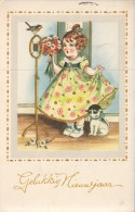 CPA FILLE AVEC CHAT ** LITTLE GIRL WITH CAT ** COLOPRINT 3003/1 - Katzen