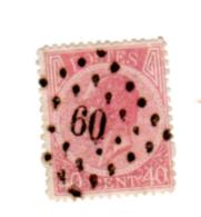 Léopold 1er, 22 Oblitéré Losange à Points # 60, Cote 22 €, - 1865-1866 Profil Gauche