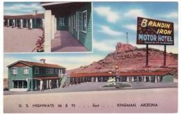 Rout 66, Brandin' Iron Motel Hotel, Motel, Kingman Arizona, Lodging, C1940s/50s Vintage Postcard - Route '66'