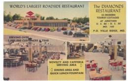 Rout 66, Villa Ridge Missouri, The Diamonds Restaurant Interior Views, C1940s/50s Vintage Linen Postcard - Route '66'