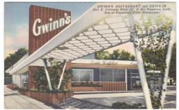 Rout 66, Pasedena California, Gwinn's Restaurant & Drive-In, C1940s Vintage Linen Postcard - Route '66'