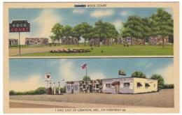 Route 66, Lebanon Missouri, Clark's Rock Court, Motel Lodging, Gas Station, C1940s Vintage Linen Postcard - Route '66'