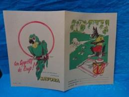 Lot De 2 Protege Cahier-  Condinent Savora-le Loup Et L´agneau-- Perroquet-aigle Hutchinson Caoutchouc Vintage - Publicité
