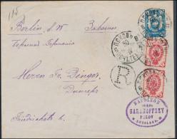 Russia 1898 Registered Stationery Envelope 14 Kop & 2* 3 Kop Stamps Pskov To Berlin (44_2662) - 1857-1916 Empire