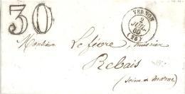 FRANCE --- L.A.C. --- PREPHILATELIE --- VERNON --- Càd 2 JUIL. 1863 Pour REBAIS -- Type 15 -- Taxe Double Trait 30 - Non Classificati