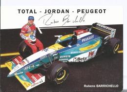 Total - Jordan - Peugeot - Rubens Barrichello - Cpm Ed LPF - 1995 + 3 CARTES TENNIS Sempras + Agassi + Kuerten - Grand Prix / F1