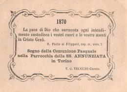 """05582  """"TORINO - PARROCCHIA DELLA SS. ANNUNZIATA - COMUNIONE PASQUALE 1870"""" IMM. RELIG. ORIGIN. - Santini"""