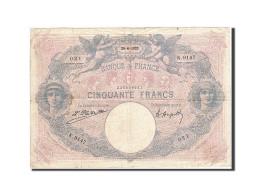 France, 50 Francs, 1889, 1922-06-28, KM:64g, TB, Fayette:14.35 - 50 F 1889-1927 ''Bleu Et Rose''
