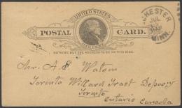 G75 Ganzsache Postal Card USA 1890 One Cent Von Rochester Nach Minnesota Und Ankunft Datumstempel