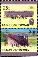 TRAINS-SPECIMEN-SR No. CC1-UK-1941-SETENANT PAIR-TUVALU-25c-MNH-TP-81 - Treinen