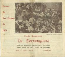 PAMPLONA PAMPELUNE PROGRAMME 1961 FERIA FIESTAS SAN FERMIN TAUREAUX TOROS CORRIDA ESPAGNE PUBLICITE RESTAURANT - Programs
