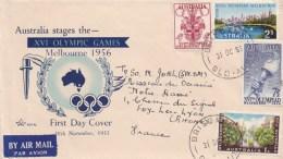 85360 L - Enveloppe FDC JEUX OLYMPIQUES MELBOURNE  31 Oc 1956 Pour La France TB - Ete 1956: Melbourne