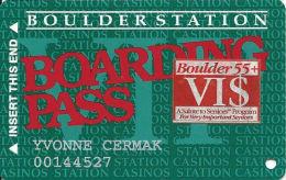 Boulder Station Casino Las Vegas, NV - Slot Card @1996 With Senior VI$ Sticker - Casino Cards