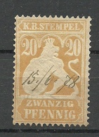 Königreich Bayern 1878 Documentary Stempelmarke 20 Pfennig O - Bavière