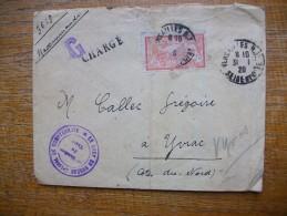 Enveloppe Recommande Militaire Envoyée à Yvias Dans Les Côtes Du Nord à Un Breton De Cette Région En 1920 - Storia Postale