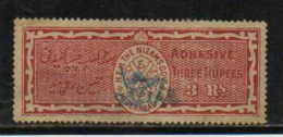 HYDERABAD State  3 Rupees  Special Adhesive  Type 60  # 91427 Inde Indien  India Fiscaux Fiscal Revenue - Hyderabad