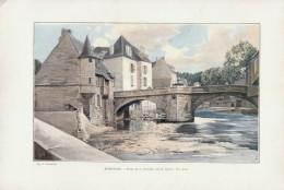 1903 - Phototypie Couleur - Aubusson (Creuse) - Le Pont De La Terrade - FRANCO DE PORT - Vieux Papiers