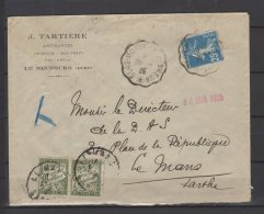 """Courriers Convoyeurs -  N° 140 Obli/sur Lettre -  """" Glos Monfort A Evreux  """" N° 2071  +  Taxe N° 38 X2 - 1926 - Storia Postale"""