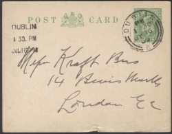 G82 Grossbritannien 1909 Ganzsache Postkarte Eduard VII P 36 II Handstempel + Maschinenstempel Dublin