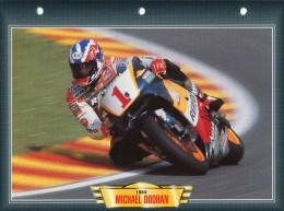 B / PILOTE MICHAEL DOOHAN 1984  FICHE TECHNIQUE MOTO FORMAT A4  DÉTAILS CARACTÉRISTIQUES TBE - Motos