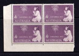 Australia 1957 Christmas 4d Corner Block Of 4 MNH - See Notes - 1952-65 Elizabeth II : Pre-Decimals